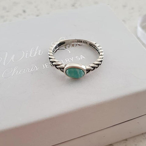 C1359-C39248 - 925 Sterling Silver Amazonite Oval Ring