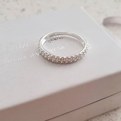 Sterling silver band cz stones