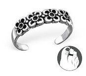 B99-C27174 - 925 Sterling Silver Flower Design Toe Ring, adjustable size