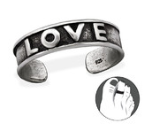 B100-C29416 - 925 Sterling Silver Love Toe Ring, Adjustable Size