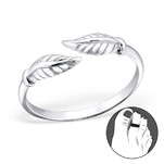 B92-C21270 - 925 Sterling Silver Leaf Toe Ring, Adjustable Size