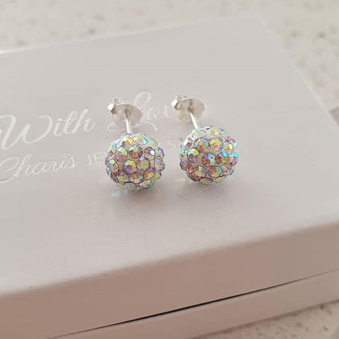 C238-C461 - 925 Sterling Silver AB Crystal Round Ball Earrings 8mm