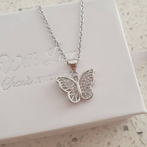 SS37-CB0212618 - Silver Stainless Steel CZ Butterfly Necklace