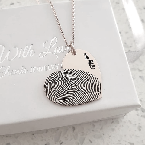 CAS101827 - 925 Sterling Silver Personalized Finger, Hand or Footprint Necklace
