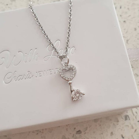 SS35-CB0212620 - Silver Stainless Steel CZ Key Necklace