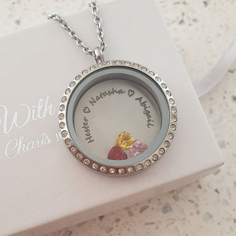 SET4 - Personalized Names & Birthstones Floating Locket Necklace