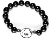20SB-09 - Stretch Bead Bracelet Black, fits Large Snap Button Charms