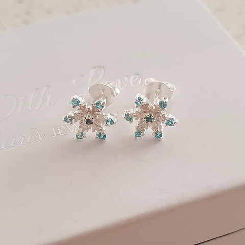 A142-C24476 - 925 Sterling Silver CZ Snowflake Earrings 8mm