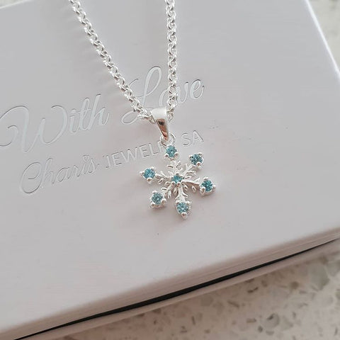 SS56-C15833 - 925 Sterling Silver Snowflake Necklace, Aqua / Clear