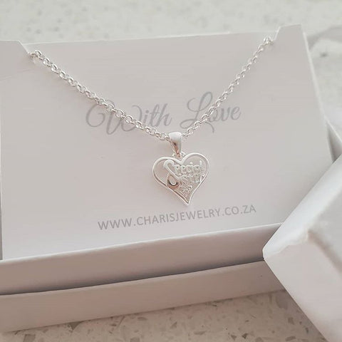 C14927 - 925 Sterling Silver Special Sister Necklace