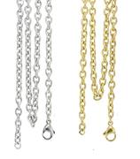 CH1 - High Quality Stainless Steel Rollo Chain, Silver / Gold 45,50,60,70cm