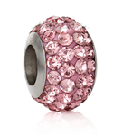 B20-CQ00070 Stainless Steel Sparkle Pink European Bead
