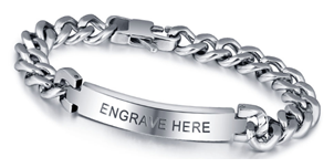 N284 - CBA101336 - Personalized Mens Bracelet, Titanium Stainless Steel