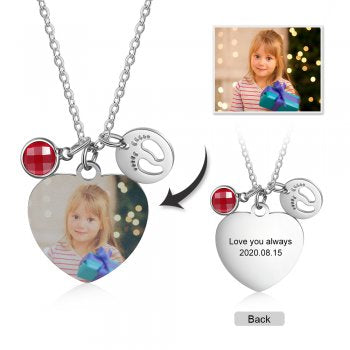 CNE104638 - Personalized Photo Necklace, Babyfeet & Birthstone, Stainless Steel