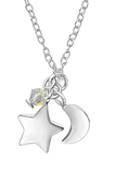 C647-C32729 - 925 Sterling Star and Moon Necklace with clear Dangle