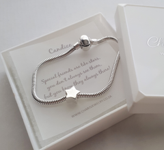 925 Sterling Silver Bracelet with Star Charm & Personalized Note