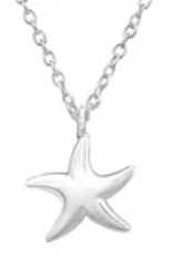 C540-C32221 - Sterling Silver Starfish Sea Necklace 11x10mm, 45cm chain