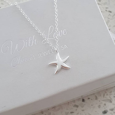 C540-C32221 - 925 Sterling Silver Starfish Sea Necklace