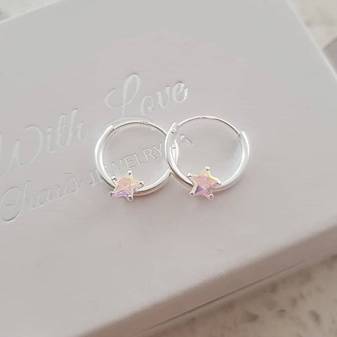 A122-C23564 - 925 Sterling Silver CZ Star Hoop Earrings 12mm