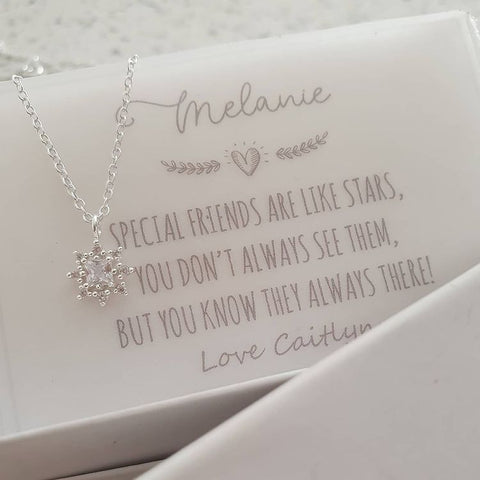 A158-C38846 - 925 Sterling Silver Small Star Necklace with Note, 6mm on 45cm chain