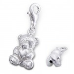 B144 - C7451 - 925 Sterling Silver Teddy with Heart Charm Dangle