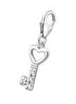 C29-C11456 - 925 Sterling Silver Key Charm Dangle for Charm Bracelet