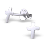 C654-C23489 - 925 Sterling Silver Cross Ear Stud Earrings 5x6mm