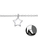 C1014-C31576 - 925 Sterling Silver Star Ankle Chain, adjustable