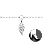 C472-C29971 - 925 Sterling Silver Wing Adjustable Anklet Ankle Chain