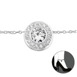 B64-27643 - 925 Sterling Silver Cubic Zirconia Anklet, Ankle Chain, adjustable size