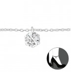 C487-C27635 - 925 Sterling Silver Cubic Zirconia Dangle Anklet Ankle Chain