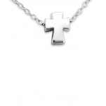 B105-C17739 - 925 Sterling Silver Tiny Baby / Childrens Cross Necklace, 5 x 6mm on 45cm chain