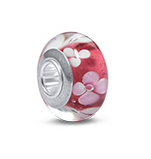 N463 - 925 Sterling Silver Light Red Glass European Charm Bead