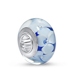 N466 - 925 Sterling Silver Blue and White Glass European Charm Bead