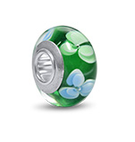 N274 - 925 Sterling Silver Green and White Glass European Charm Bead