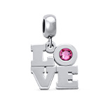 N264 - 925 Sterling Silver Personalized Birthstone European Charm Bead