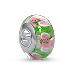 N269 - 925 Sterling Silver Pink and Green Glass European Charm Bead