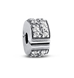 N265 - 925 Sterling Silver Stopper Bead, CZ Stones European Charm Bead