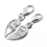 C225-C12912 - 925 Sterling Silver Best Friends Heart Dangle Charms for Bracelet