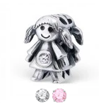 Sterling silver girl european charm bead