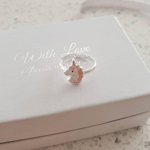 C885-C34044 - 925 Sterling Silver Glitter Unicorn Adjustable Ring