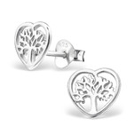 C505-C23945 - Sterling Silver Tree of Life Heart Earings 8mm