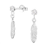 C495-C32822 - 925 Sterling Silver Leaf Earrings 4x20mm