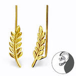 C531-C28626 Gold Plated over Sterling Silver Leaf Ear Pin Earings 6x18mm