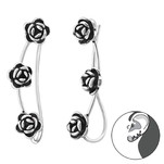 C493-C34862 - 925 Sterling Silver Rose Pin Earings 5mm by 23mm