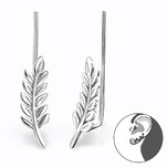 C492-C24360 - 925 Sterling Silver Leaf Ear Pin Earings
