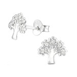 C504-C32768 - Sterling Silver Swarovski Crystal Tree of Life Earings
