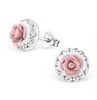 C27597- 925 Sterling Silver Rose and Crystal Earings 9mm