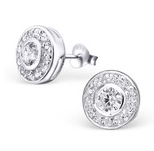 C501-C20325 - 925 Sterling Silver Cubic Zirconia Ear Stud Earings, 9mm x 9mm
