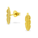 C480-C31750 - Gold Plated Leaf Earrings 4mm by 12mm